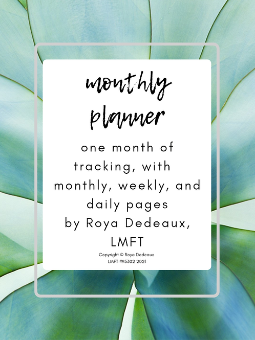 Monthly planner - succulent themed