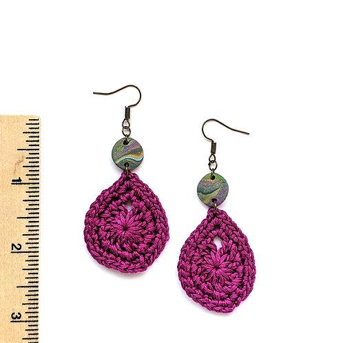 purple cotton and clay teardrop earrings