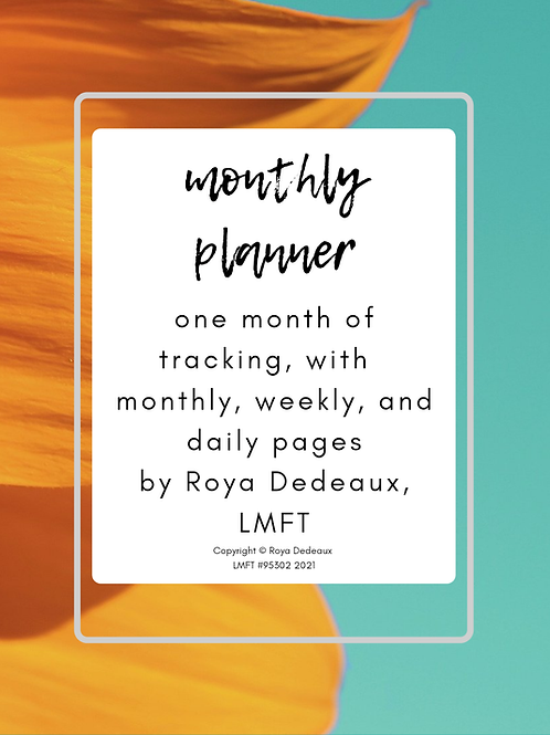 Monthly planner - sunflower themed
