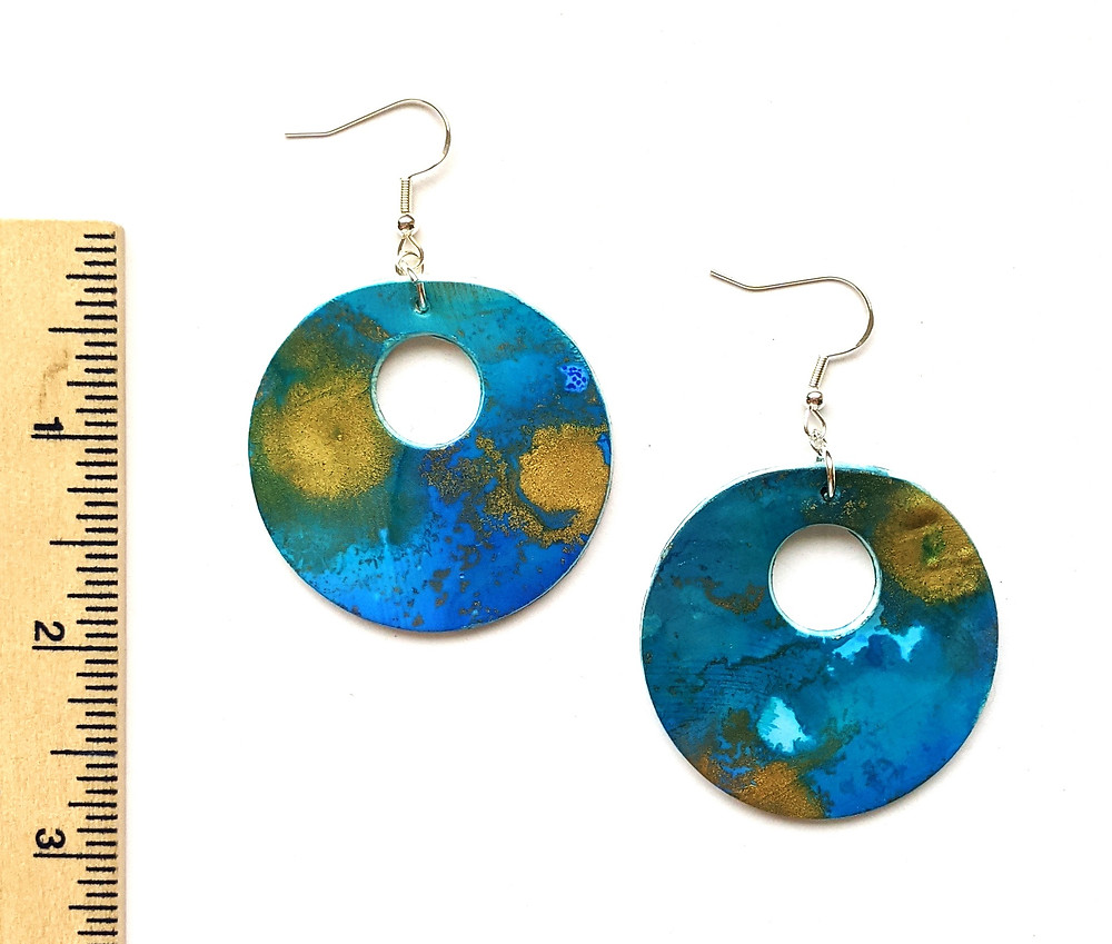 handmade clay round earrings in blue and gold