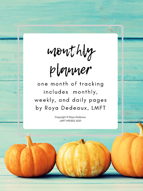 Monthly planner - pumpkin themed