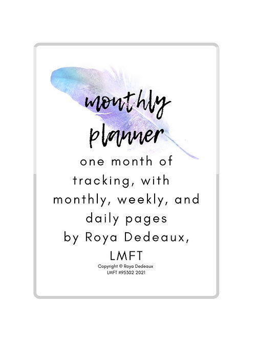 Monthly planner - feather themed