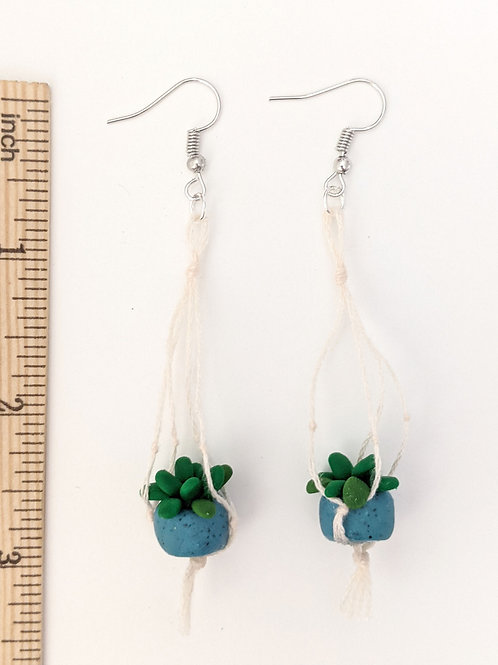Blue potted plant hanging earrings