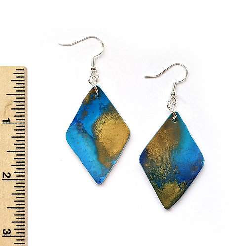 Blue and gold abstract earrings
