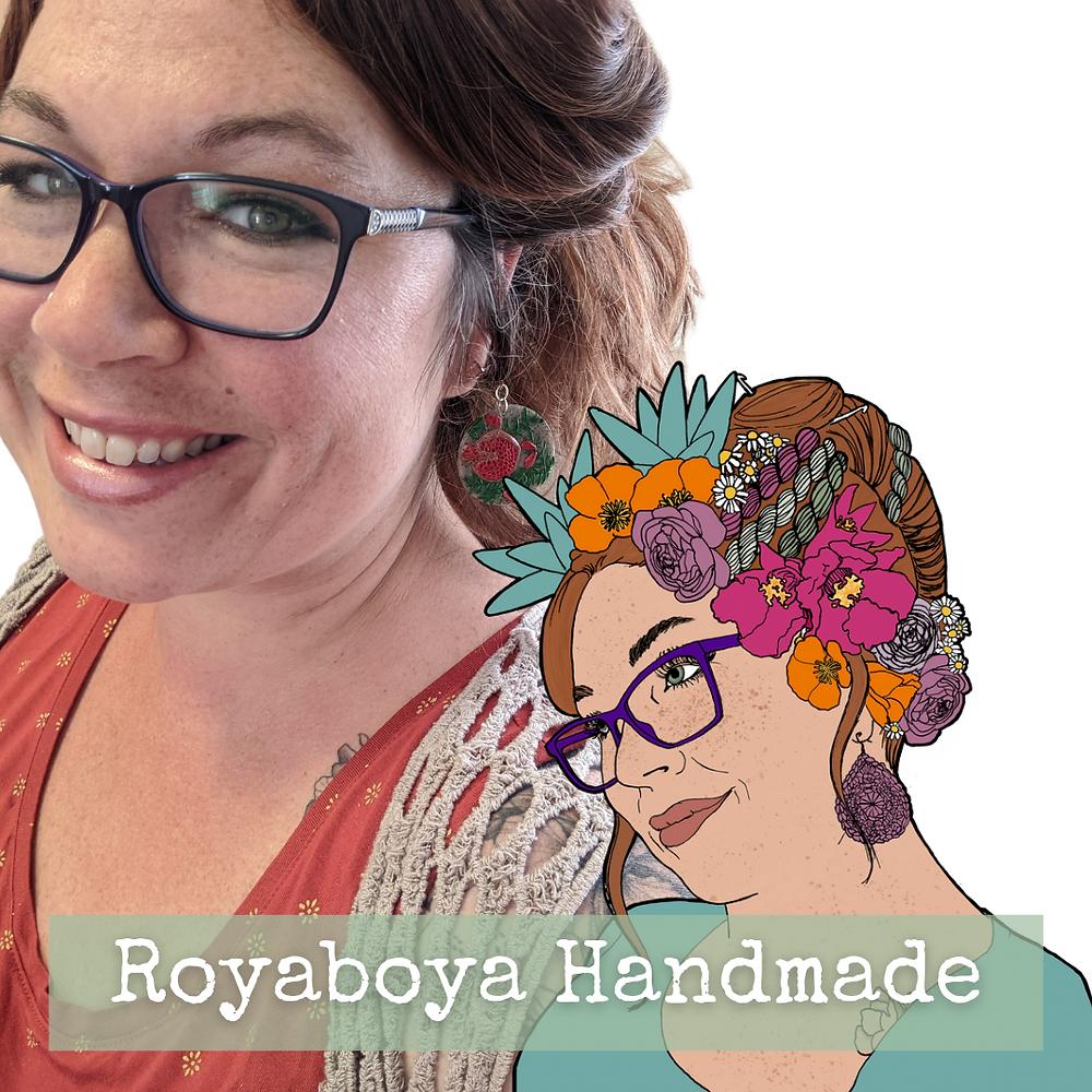digital collage of photograph of Roya and drawn portrait of same woman. The words Royaboya Handmade runs across the bottom.