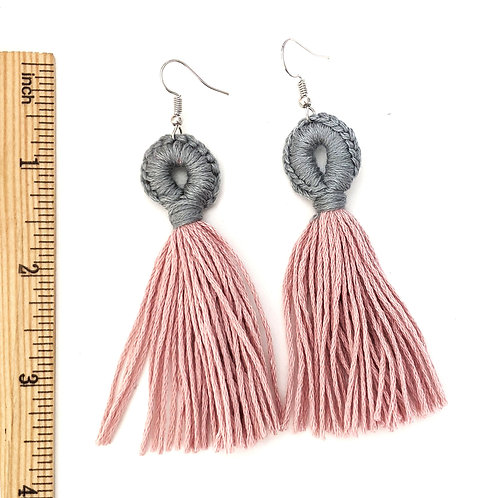 grey and pink tassel earrings