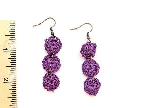 purple dangle crochet earrings