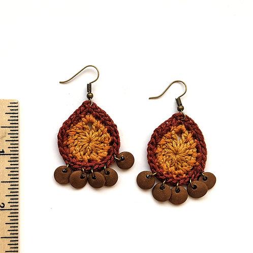 warm browns teardrop earrings