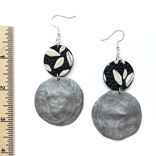 black and silver floral statement earrings
