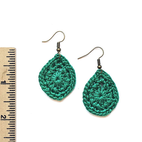 green crochet teardrop earrings