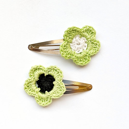 crochet flower hair clips with green petals