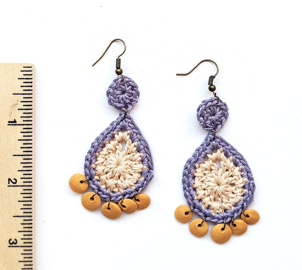 handmade dangly crochet teardrop earrings with clay discs