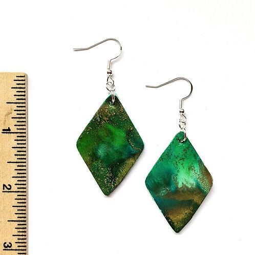 green diamond clay earrings