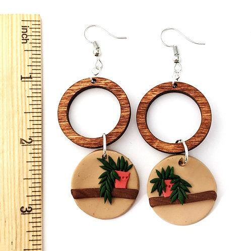 wood and planter handmade earrings