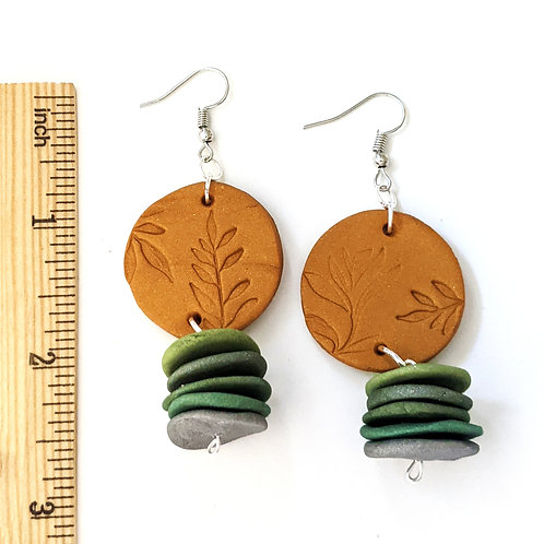 botanical stamped handmade earrings