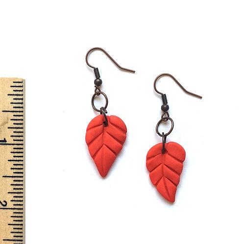 orange-red leaf earrings