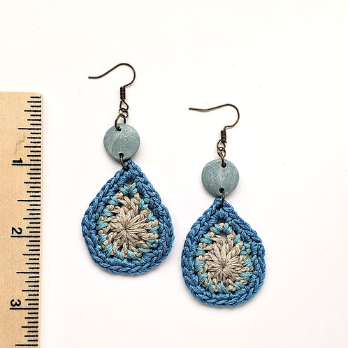 Blue and silver cotton and clay teardrop earrings