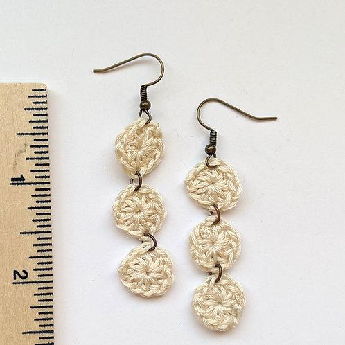 off-white crochet earrings