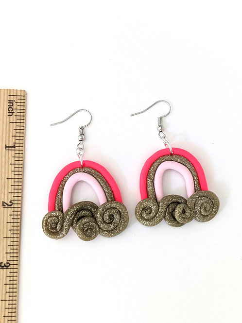 Pink and glitter rainbow earrings
