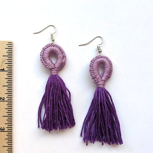 two toned purple tassel earrings