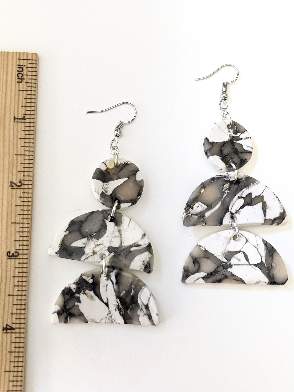 handmade dangle earrings with white and black marbled technique