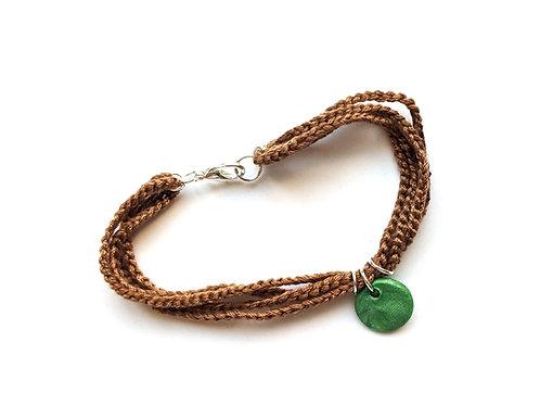 Brown and green handmade bracelet