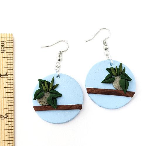 potted plant handmade earrings