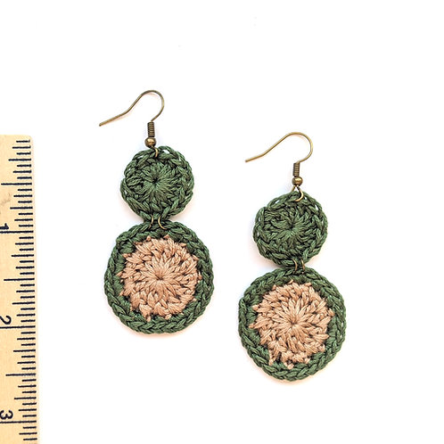 green and tan crochet earrings