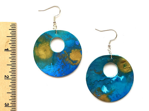 circle statement blue and gold clay earrings