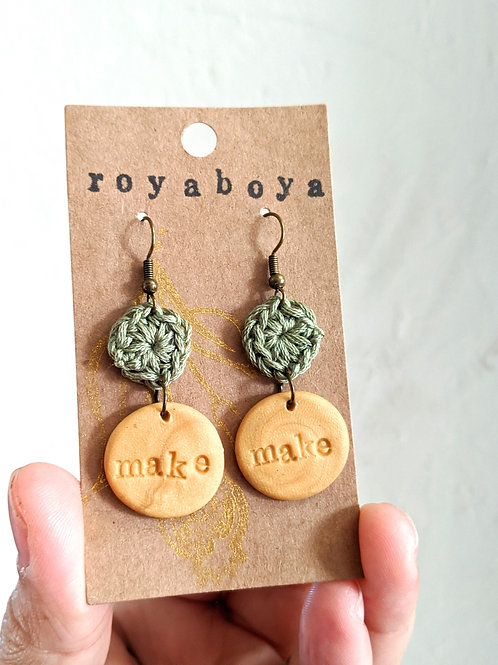 "crochet and clay ""make"" earrings"