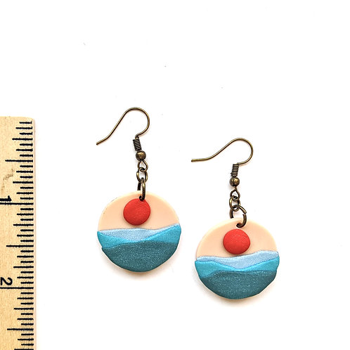 sun and sea clay earrings