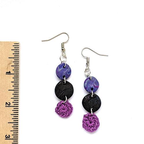 purple galaxy swirl cotton and clay teardrop earrings