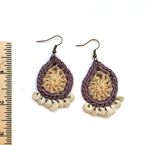 purple and tan teardrop earrings