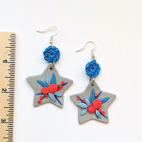 Red and blue bouquet earrings