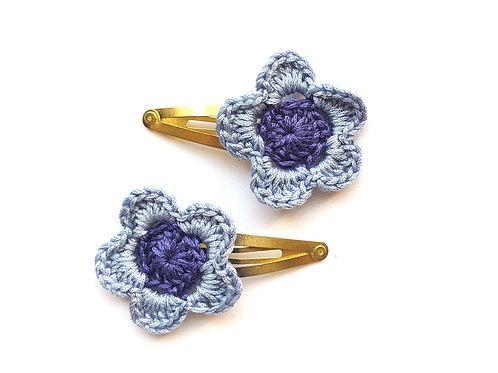 Blue flower hair clips