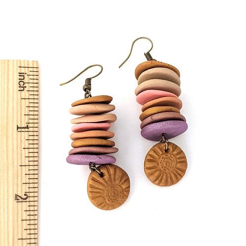 cheerful flower stamped handmade earrings