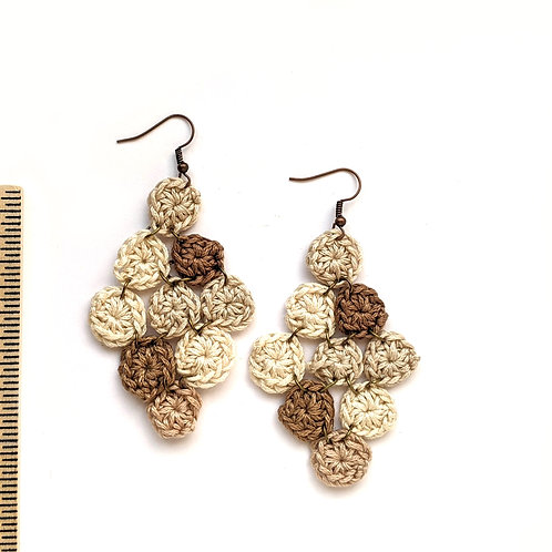 tan chandelier crochet earrings