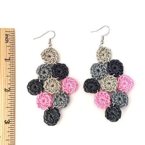 Pink and grey chandelier crochet earrings