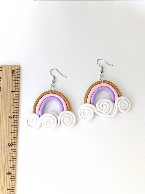 Pink and lavender rainbow earrings