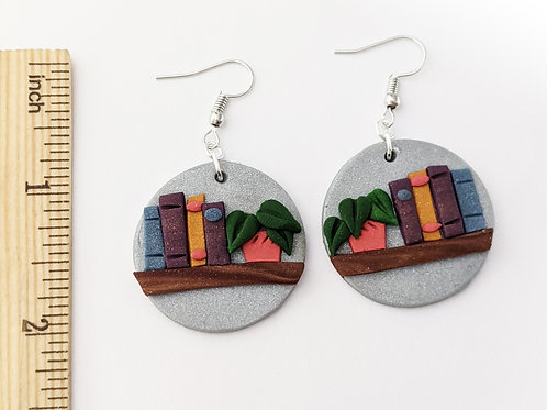 round bookshelf handmade earrings