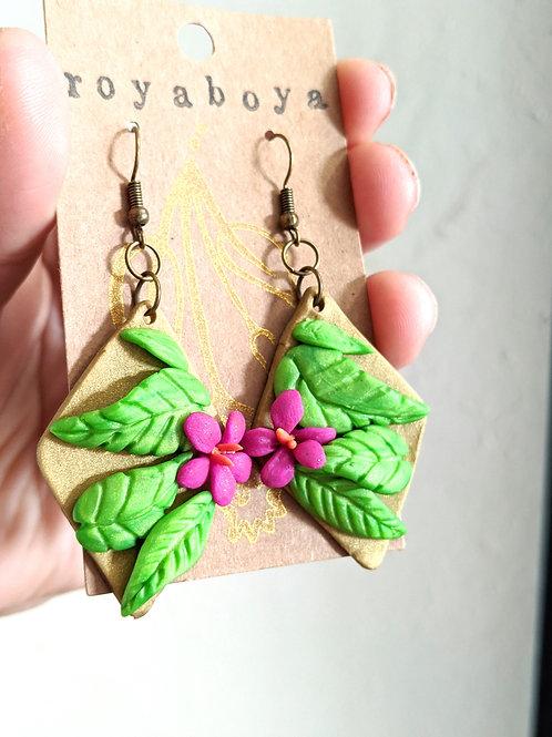 tropical hibiscus diamond earrings