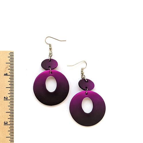 purple ombre statement earrings