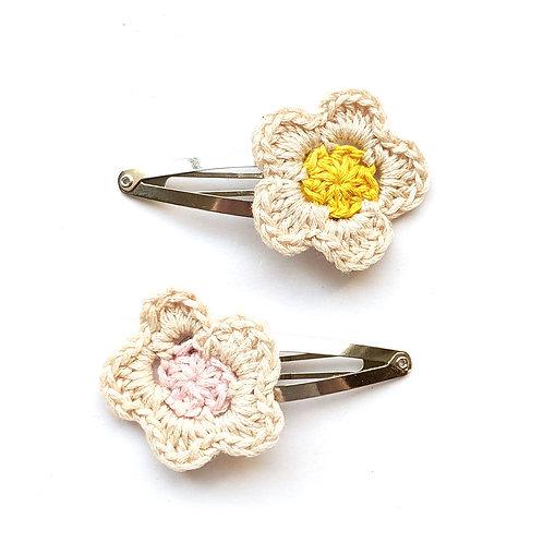 Pastel crochet flower hair clips