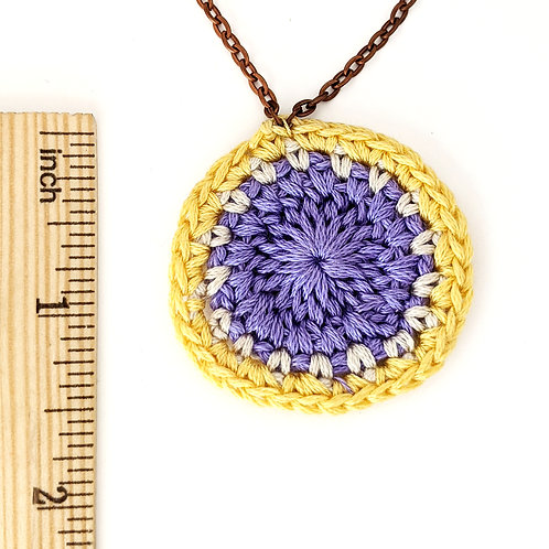 Purple and yellow crochet necklace