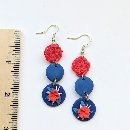 red and blue floral earrings