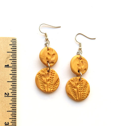 autumn wheat stamped earrings