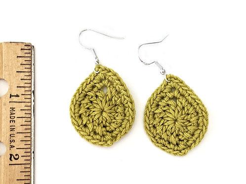 green tea crochet teardrop earrings
