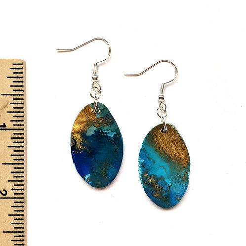 blue and bronze oval clay earrings