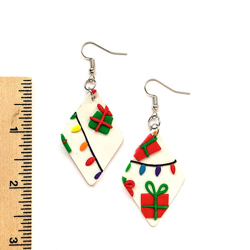 Christmas gifts and lights clay earrings