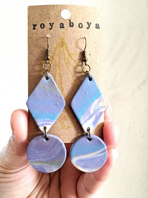 purple swirl geometric earrings